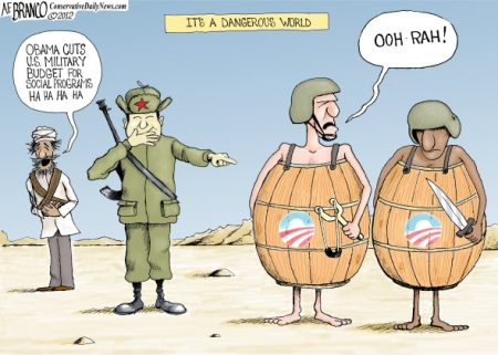 MILITARY CUTS, OBAMA CARTOONS